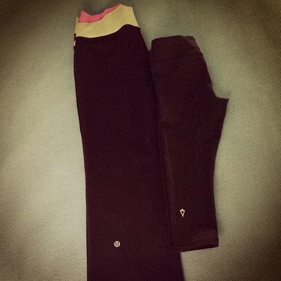 My lululemon pants on the left & my kiddo's ivivva pants on the right.