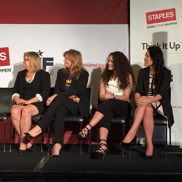 (L to R: Carrie McElwee, Staples Executive; Lisa Paulsen, EIF Executive; Madison Pettis, Actress; Janelle Lin, DonorsChoose.org Executive)