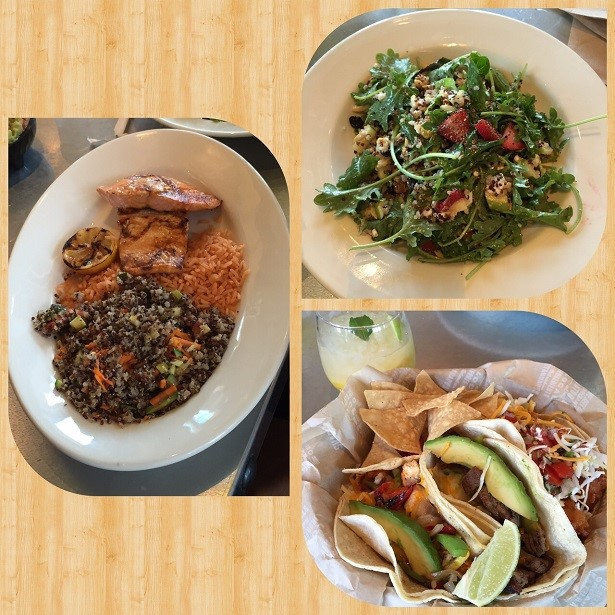 Clockwise from left: wild caught wild salmon plate, vegetarian harvest quinoa salad, 3 tacos – wild caught fish, all natural beef & all natural chicken)