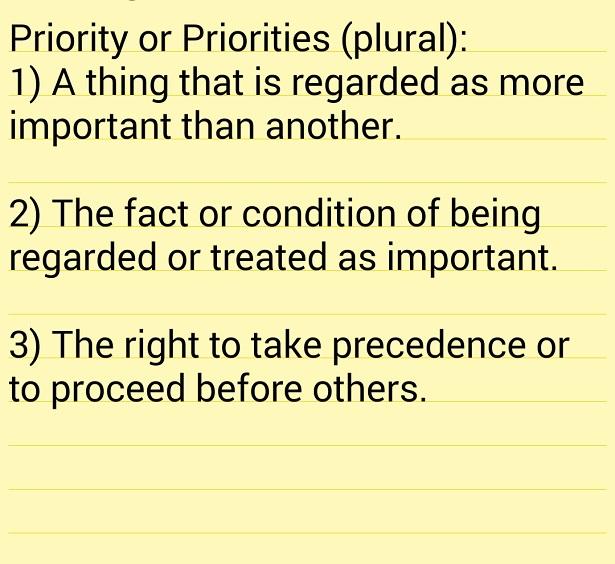 Defintion of Priorities
