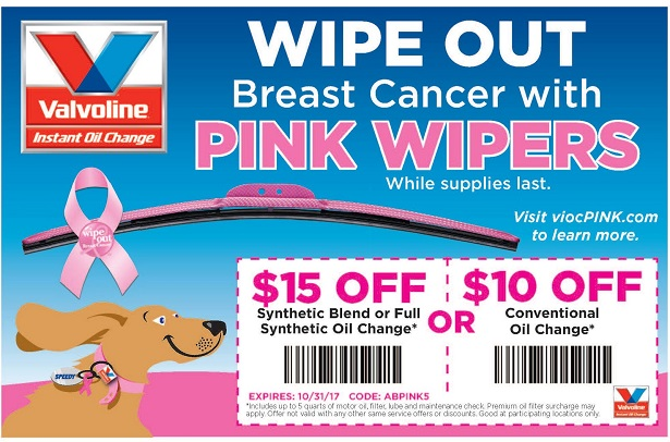Valvoline Instant Oil Change Pink Wipers generic coupon
