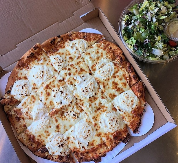 Fresh Brothers White Pizza and Salad
