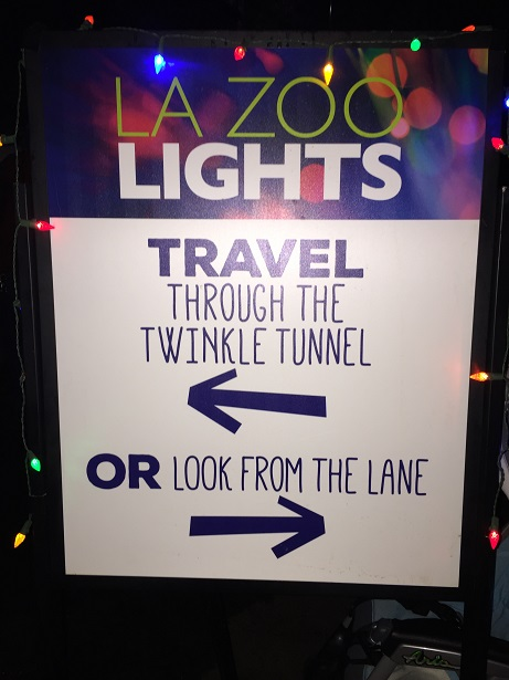 L.A. Zoo Lights Twinkle Tunnel Signage