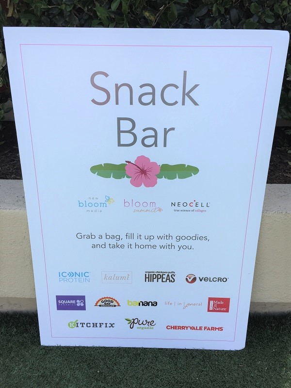 Bloom Summit Snack Sponsors Signage