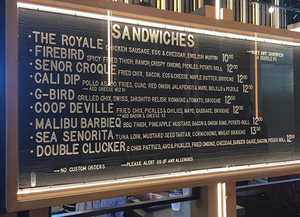 Crack Shack sandwich menu
