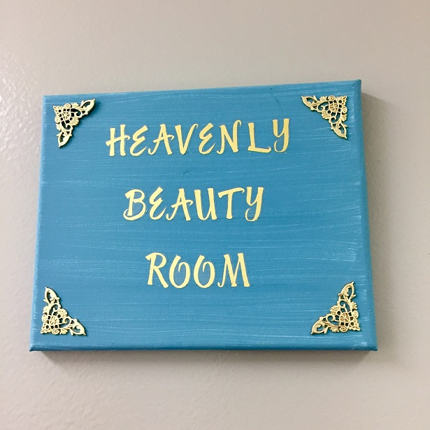 Heavenly Beauty Room signage