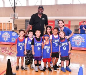 LA Clippers Youth B-ball Coaches with kids