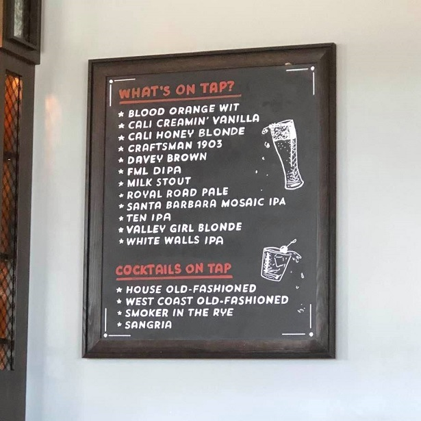 Partial alcohol menu
