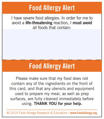 Food Allergies - Chef Card