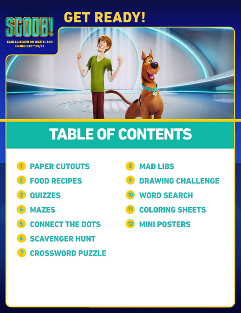 SCOOB Party Pack_Table of Contents