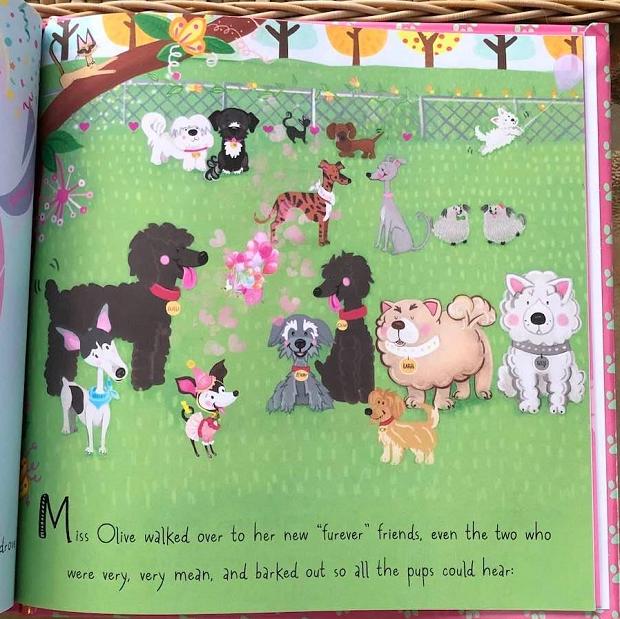 Miss Olive Finds Her Furever Friends_doggie friends