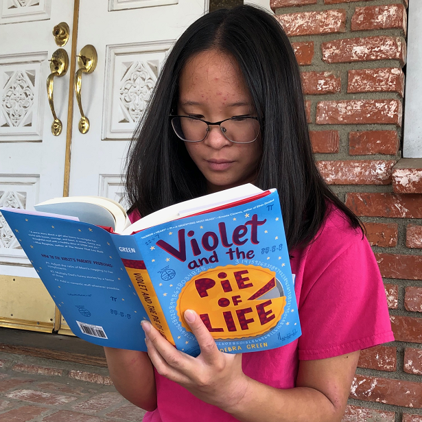 Reading the Violet and the Pie of Life book